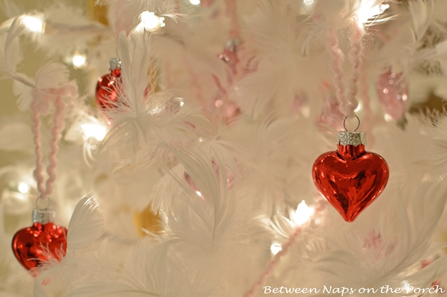 Valentine's Day Feather Tree Covered in Red and Pink Mercury Glass Hearts 3