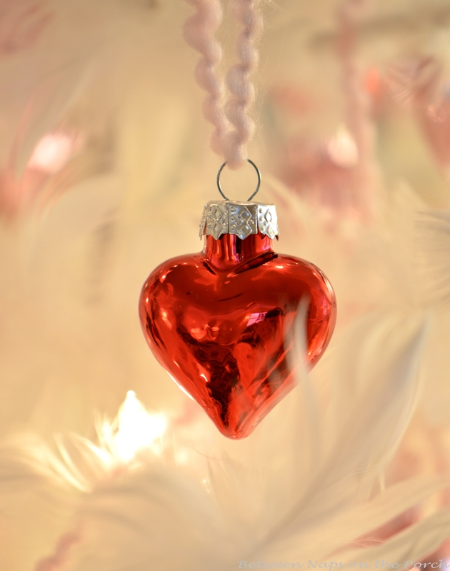 Valentine's Day Feather Tree Covered in Red and Pink Mercury Glass Hearts 4
