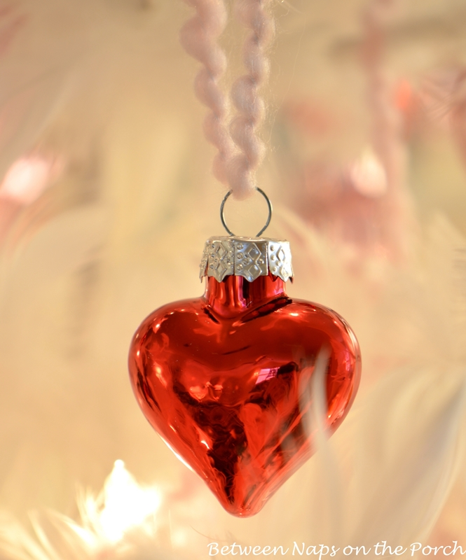 Valentine's Day Feather Tree Covered in Red and Pink Mercury Glass Hearts 5