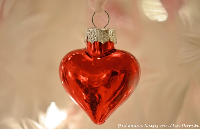 Valentine's Day Feather Tree Covered in Red and Pink Mercury Glass Hearts 7