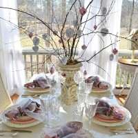 Table Setting with Music & Mercury-Glass Heart Tree