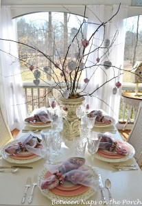 Valentine's Day Table Settings with Mercury Glass and Decoupaged Hearts
