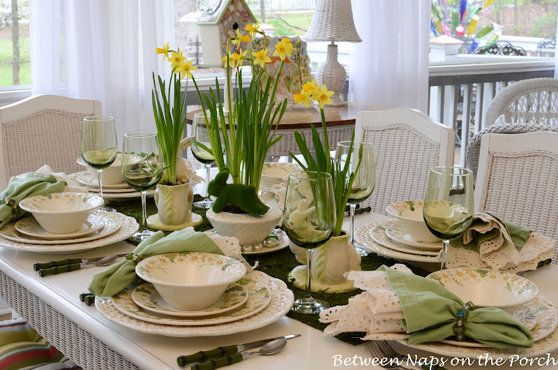 Spring Easter Table Setting with Vintage Sculptured Daisy Dinnerware & Easter Table Setting with Daffodil and Moss Centerpiece