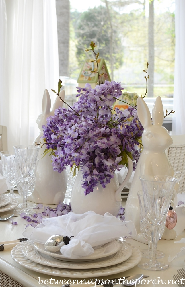 Easter Spring Table Setting Tablescape with White Bunny Rabbit and Wisteria Centerpiece 2_wm