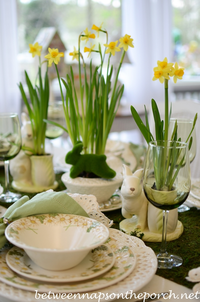 Easter Table Setting with Bunny Centerpiece_wm