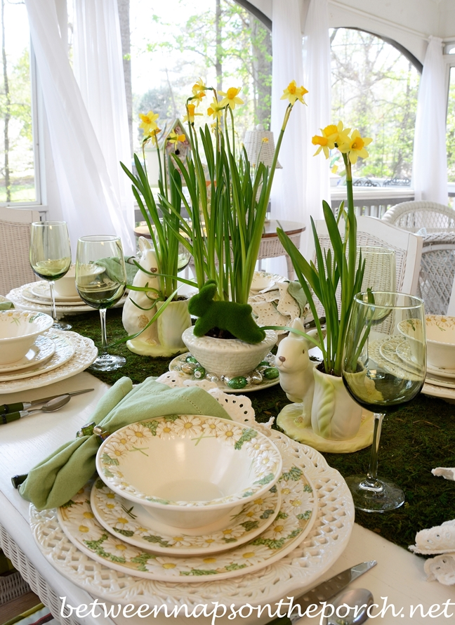 Easter Tablescape with Bunny and Jonquil Centerpiece