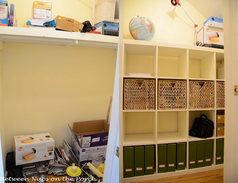 Ikea Expedit In Closet For Office And Craft Room Storage Organization