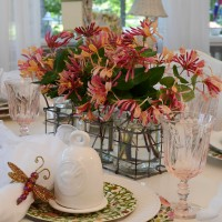 Easter Table Setting with Floral Centerpiece