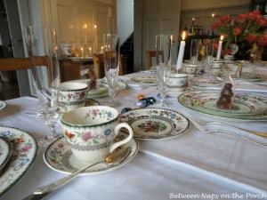 Easter Table Setting Tablescape with Spode, Chinese Rose
