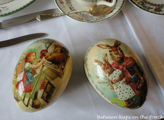 Easter Table Setting Tablescape with Paper Eggs from Germany and Spode Chinese Rose