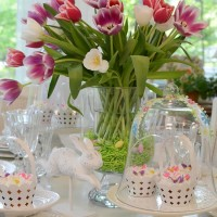 Easter Table Setting with Tulip Centerpiece and Bunny Cupcake Holders