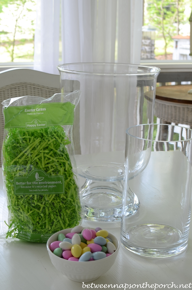 Make a Double-Vase Hurricane Centerpiece for Easter or Spring