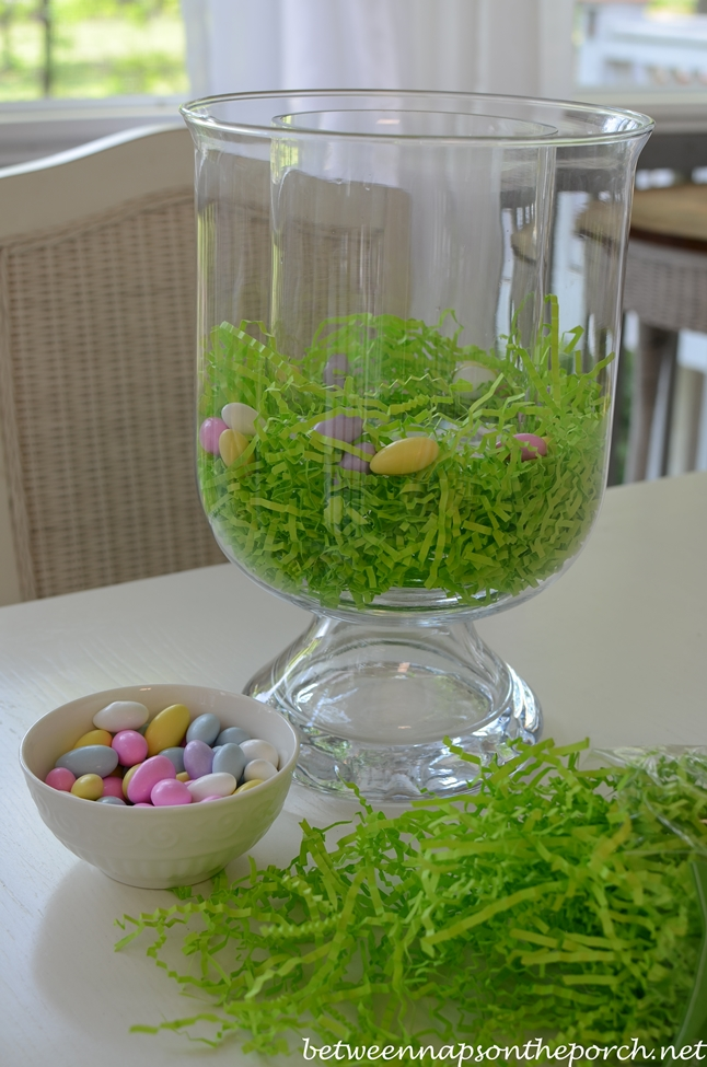 Potter Barn DIY Double-Bowl Vase Hurricane, Easter Spring Centerpiece
