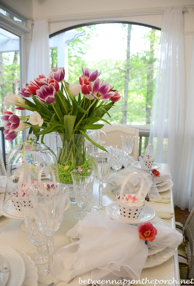 Pottery Barn Bunny Cupcake Holders in Spring Table