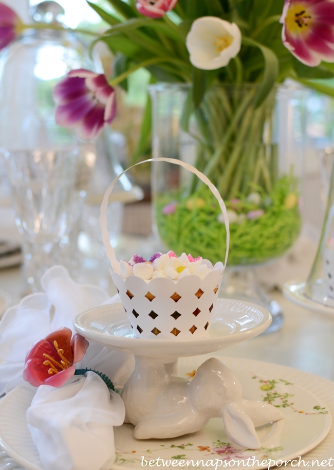 Spring Table, Pottery Barn Bunny Cupcake Holders