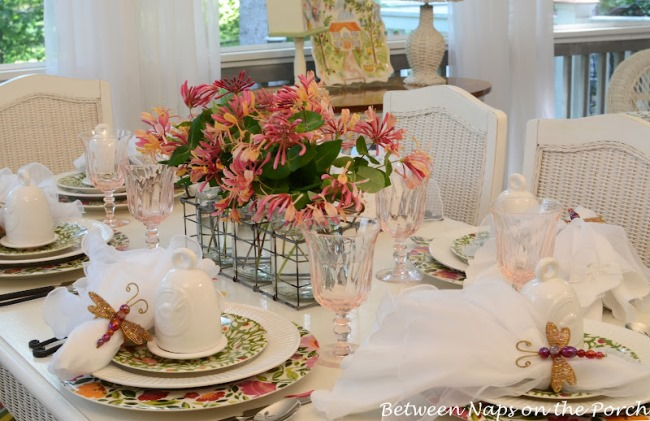 Spring or Easter Table Setting on Screened Porch with Kim Parker, Emma's Garland Dishware