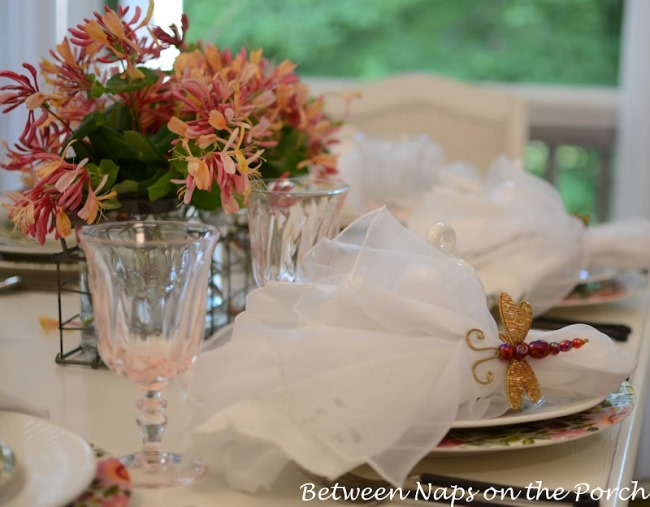 Spring or Easter Table Setting with Honeysuckle Centerpiece