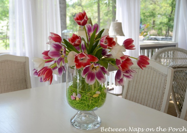 Tulip Centerpiece in Pottery Barn Knock-off Double Bowl Vase