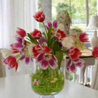 Easter Tulip Centerpiece in Pottery Barn Knock-off Double Bowl Vase