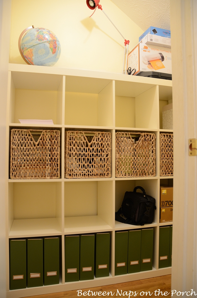 Ikea Expedit with Pjas Baskets In Closet