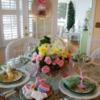 Easter Tablescape with Daffodil & Camellia Centerpiece