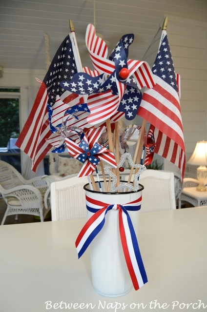 Centerpiece red white blue pinterest for American flag decoration ideas