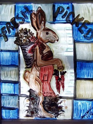 Garden Bunny Painted on Window