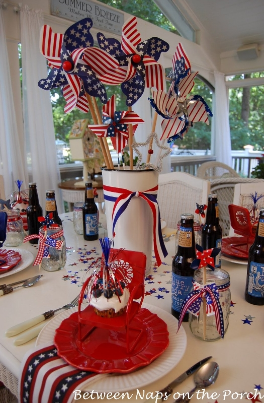 Make an easy centerpiece or table decoration the 4th of july for 4th of july decoration