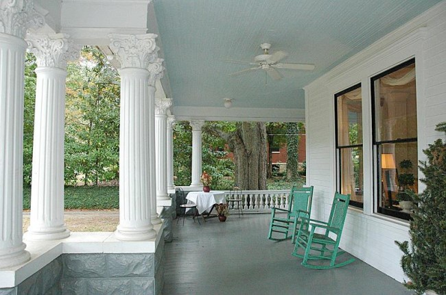 Porch with Haint Blue Ceiling