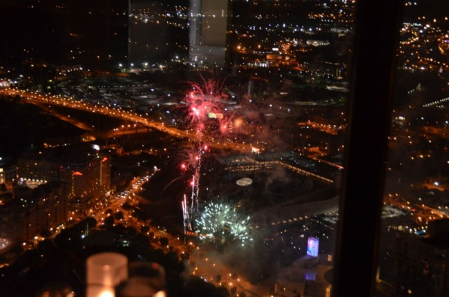 4th of July Fireworks View from the SunDial Restaurant atop the Westin Peachtree Plaza Hotel