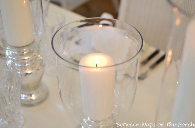 Light, Elegant Table Setting with Mercury Glass Centerpiece