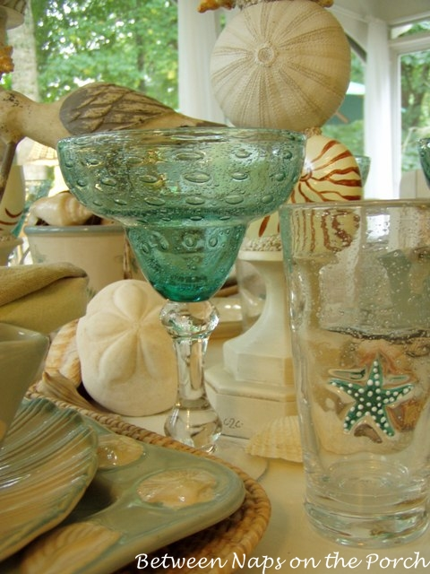Beach Themed Table Setting with Starfish Glasses