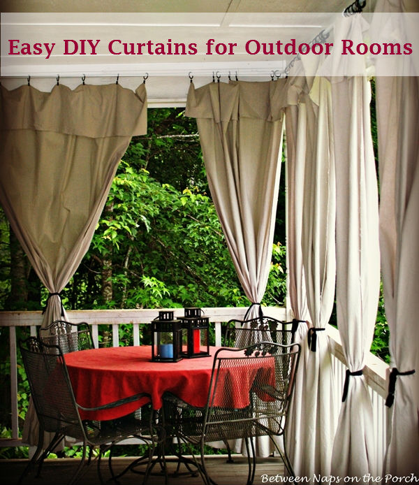 Curtains Ideas curtains made from painters drop cloths : Drop Cloth Curtains for a Porch Add Privacy and Sun Control