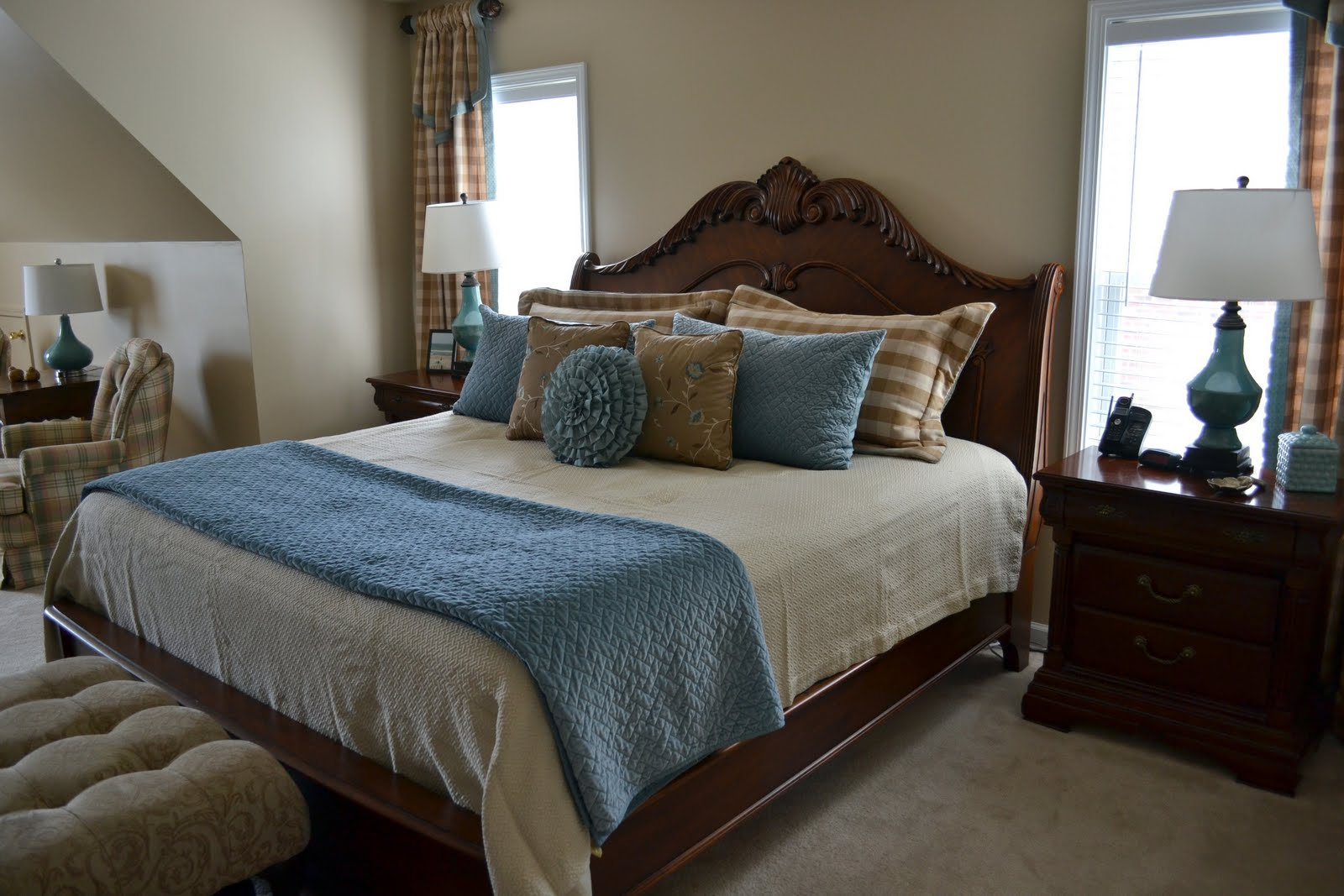 bedroom renovation featuring buffalo check curtains. Black Bedroom Furniture Sets. Home Design Ideas