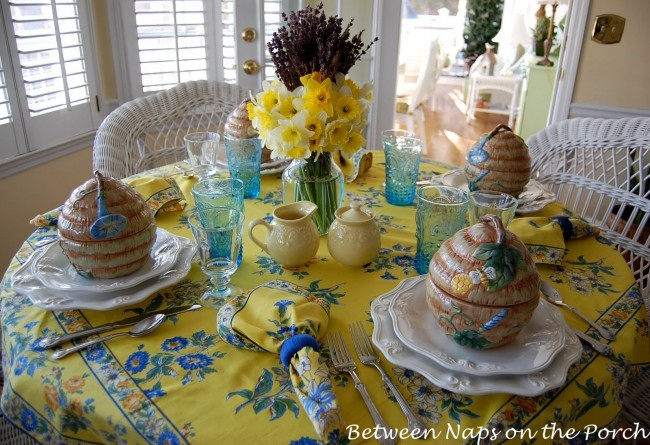 French Inspired Table Setting with Lavender and Daffodils