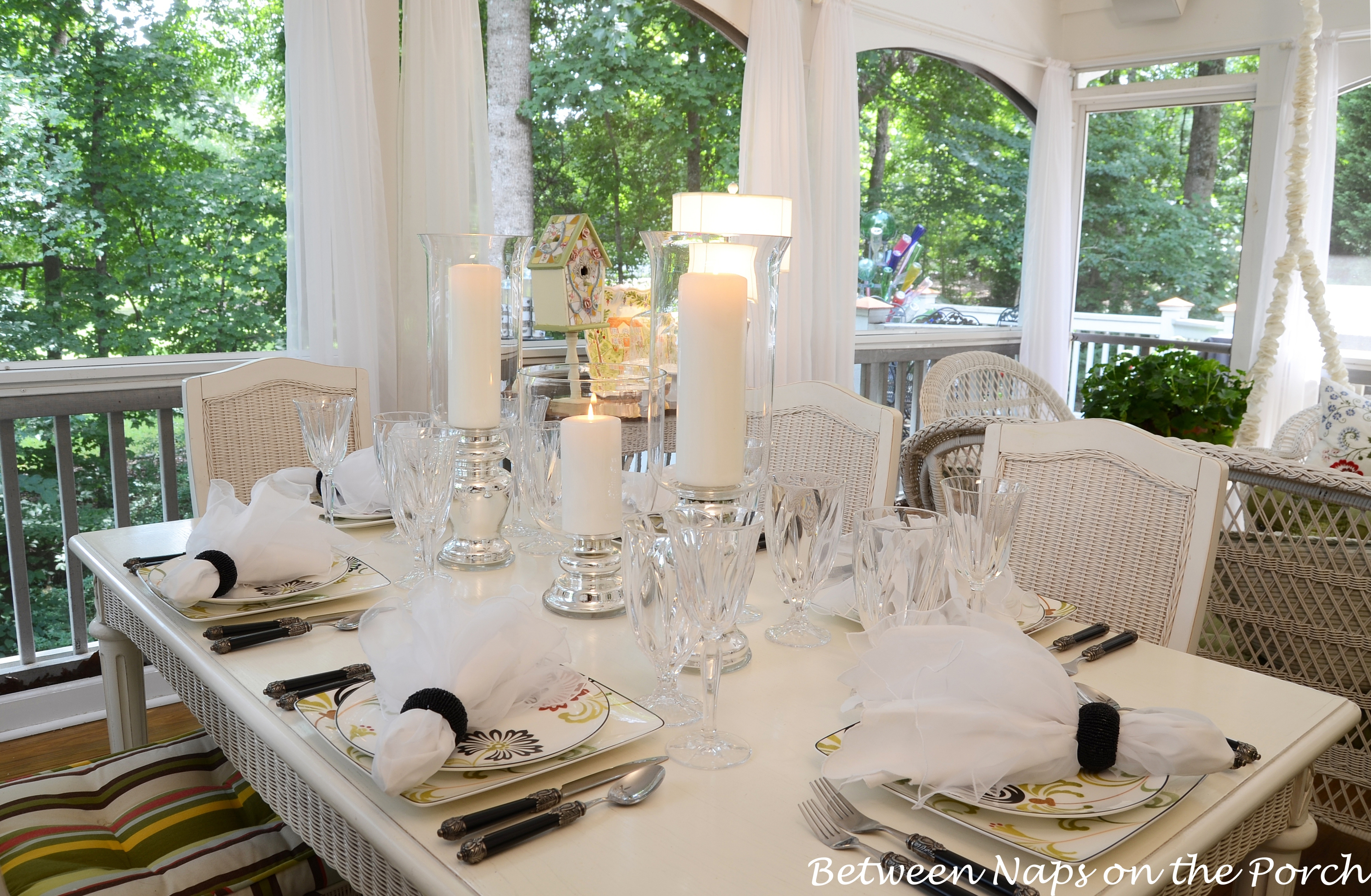 elegant candlelit summer tablescape table setting