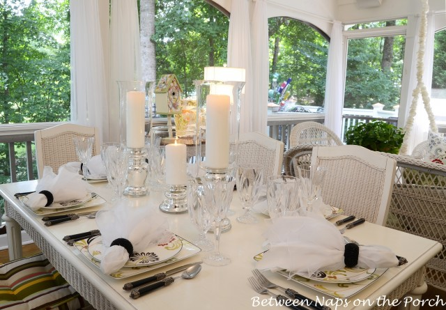 Airy Summer Table Setting with Mercury Glass Centerpiece