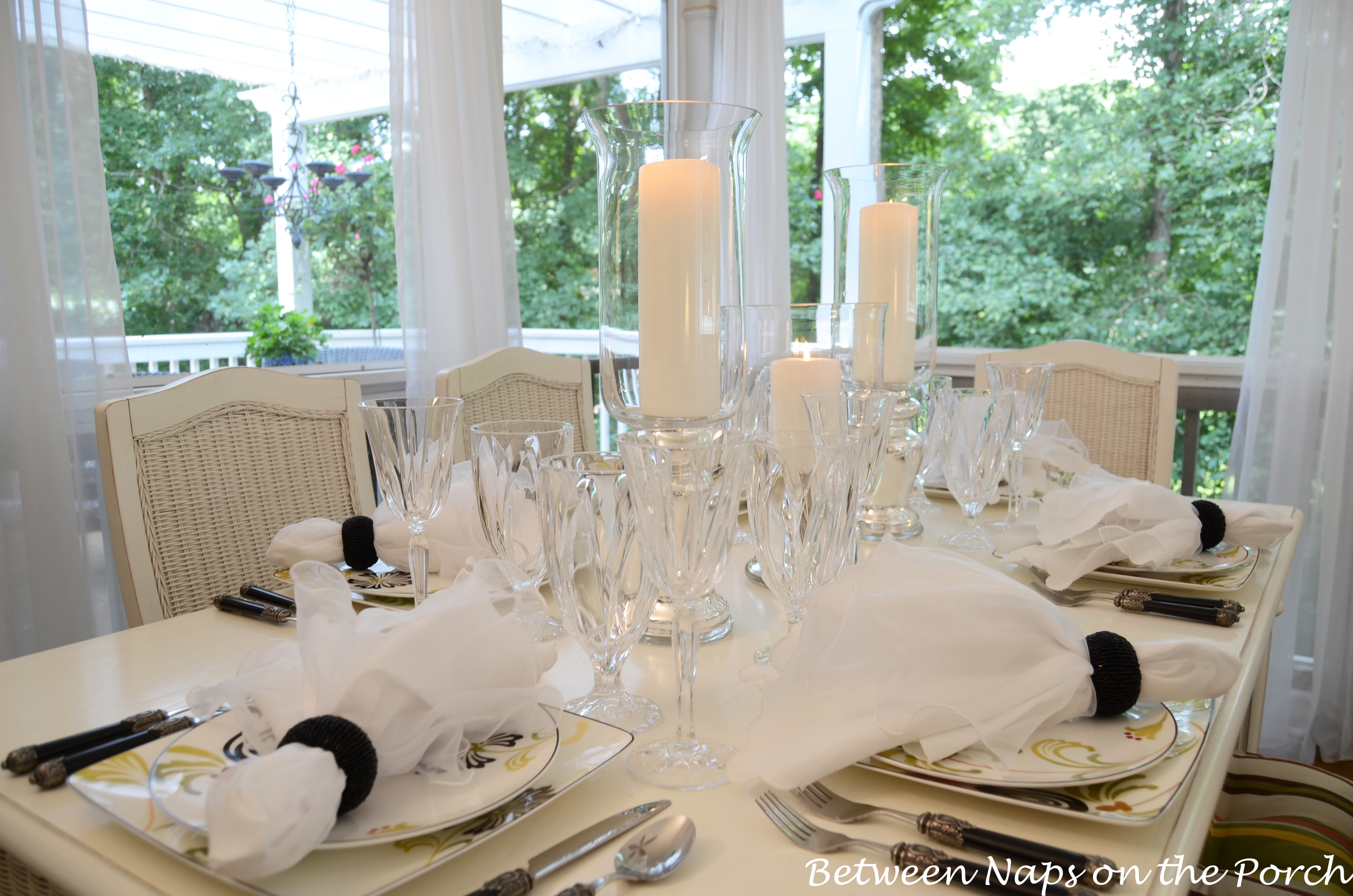 Light Elegant Table Setting with Mercury Glass Centerpiece & Elegant Candlelit Summer Tablescape Table Setting