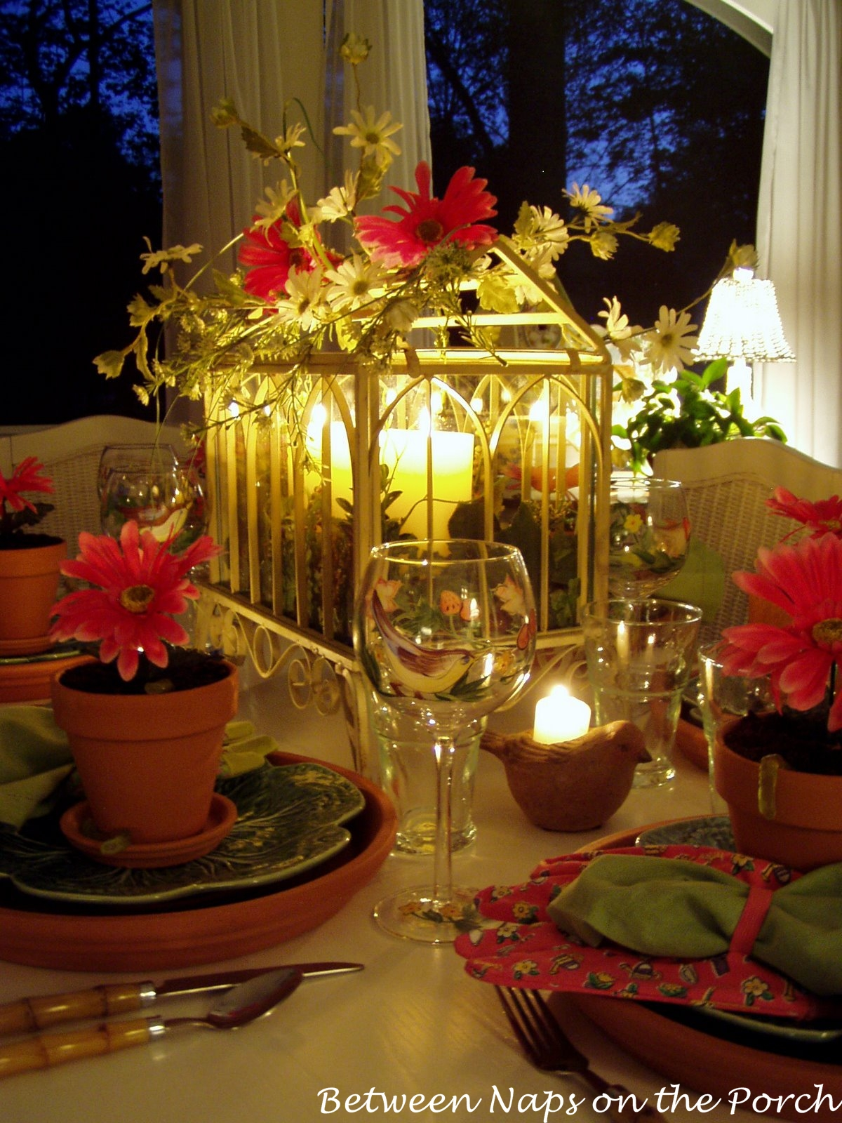Garden party table setting with flower pot chargers