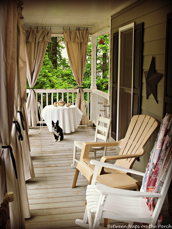 drop cloth curtains for a porch add privacy and sun control. Black Bedroom Furniture Sets. Home Design Ideas