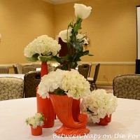 Recycled Bottles and Vases Become Beautiful Centerpieces