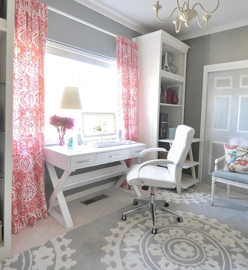 white home office with red and gray accents