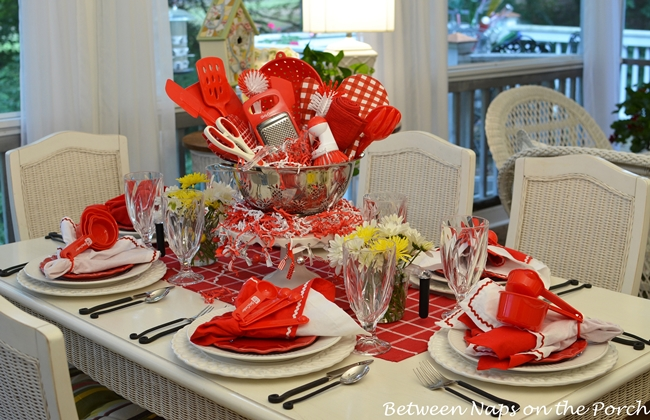 Easy Centerpiece for a Kitchen Gadgets Bridal Shower