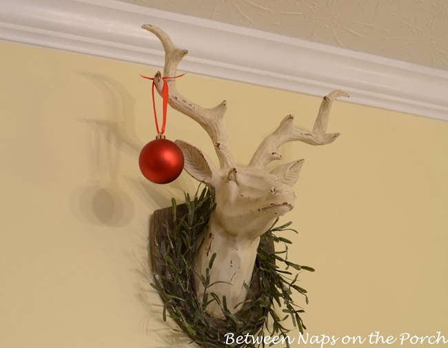 Deer Head with Rosemary Wreath Decorated for Christmas