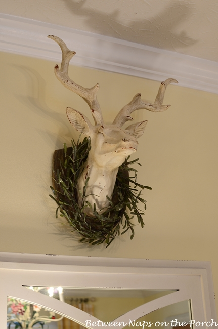 Deer head with Rosemary Wreath