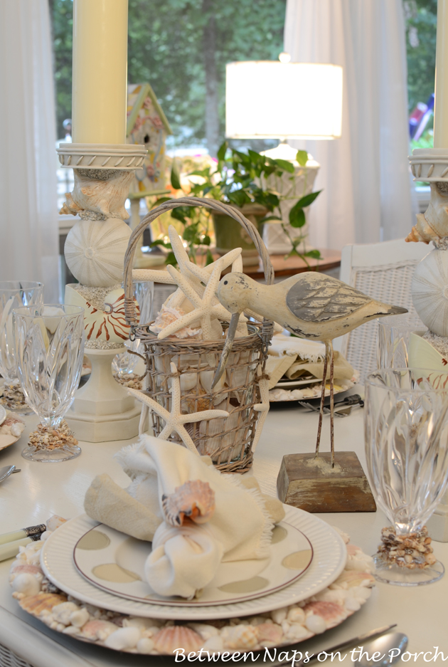 Beach Themed Table Setting With Shell Chargers