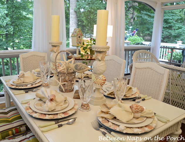 Shell Chargers for a Summer Beach Themed Table Setting