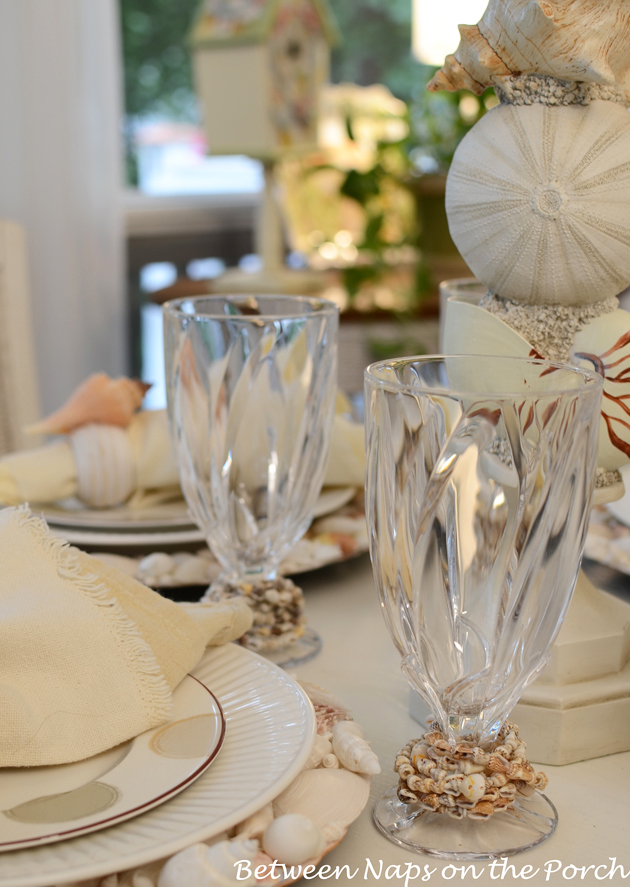Beach Themed Tablescape with Shell Chargers