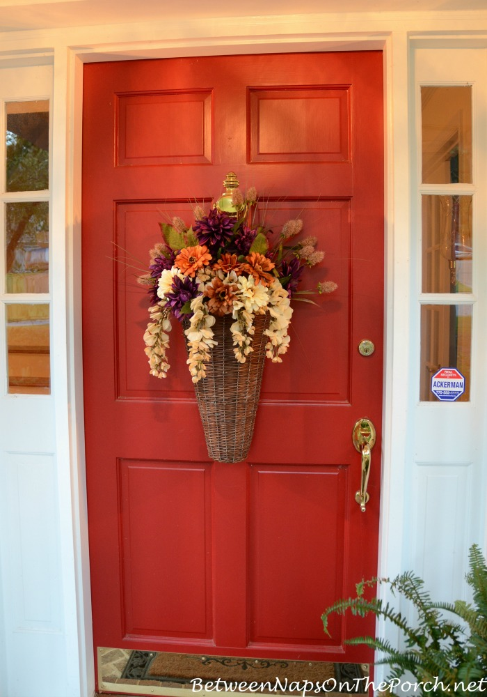 Autumn Basket For The Front Door 2 & Floral Autumn Basket Instead of a Wreath for the Front Door: