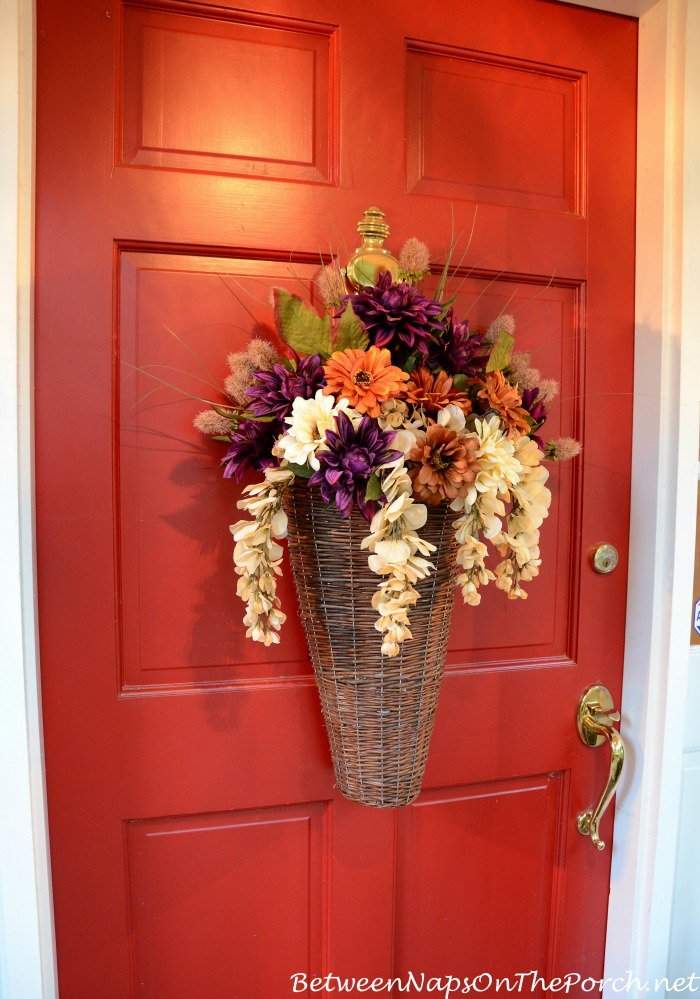 Floral Autumn Basket Instead Of A Wreath For The Front Door